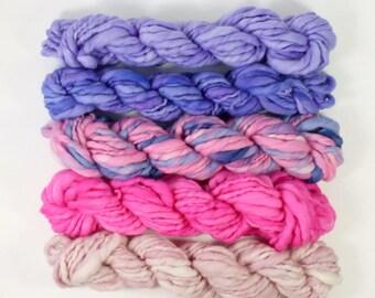 purple people eater .. handspun yarn set, weaving creative yarn bundle, hand spun, hand dyed yarn, handspun art yarn