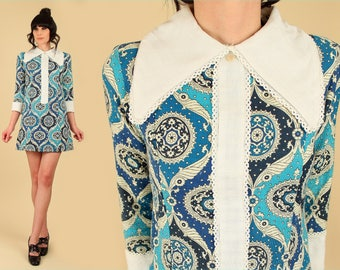 ViNtAgE 60's Mod Mini Dress // Allover Print Cotton // Floral Mandala Oversize Collar Cuffs Navy Blue MoD Babydoll Dolly Scooter Dress S M