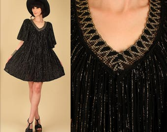 ViNtAgE 70's Gauze Cotton Grecian Dress // Bohemian Goddess Black & Gold HiPPiE Gypsy Boho Dress o/s