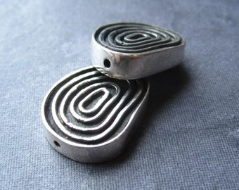 Solid Sterling Silver Spiral Accent Beads - one - drilled
