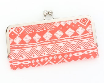 Neon Coral Aztec Cell Phone Wallet Clutch with Kisslock Frame Closure in Tribal Printed Cotton