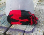 Knitted Red and Black Long Scarf Ready to Ship
