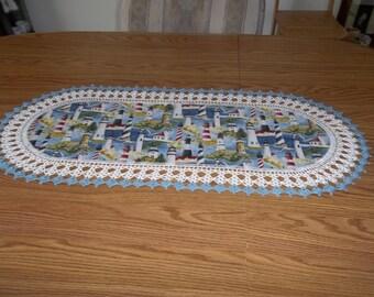 Crochet Table Runner, Lighthouse, Best Doilies, Fabric Table Runner, Crocheted Edge, Centerpiece, Table Topper, Table Cloth, Dresser Scarf
