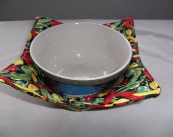 Microwave, Bowl Cozy, Mixed Peppers, Quilted Bowl, Reverisble, Potholders, All Cotton Fabric, and Thread, Handmade, Gift