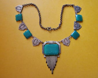 Edwardian / Art Deco Brass and Green Glass Necklace