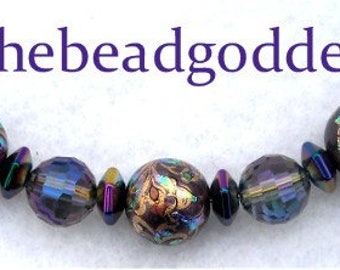 """New 4"""" Japanese TENSHA Bead Design PEACOCK PURPLE and Glass Crystals 10& 12mm"""