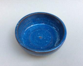 blue ceramic pottery bowl- prep bowl- dish-handmade pottery- soup bowl - serving dish -in stock