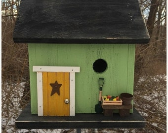 Snow Storm Sale Green Country Fruit Stand Birdhouse Primitive Fully Functional