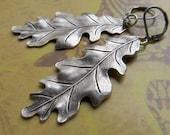 long earrings Leaf earrings - silver Oak leaf earrings - Everyday jewelry