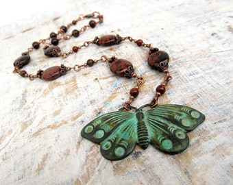 earthy Butterfly necklace brown stone necklace gift for her Rustic jewelry