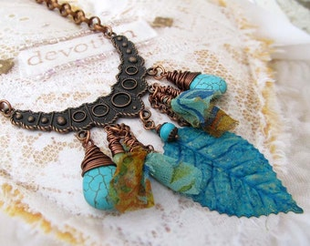 turquoise necklace with sari fabric, Gypsy necklace,  blue necklace, crescent copper bib necklace, Hippie jewelry