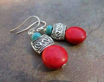 Santa Fe Holiday earrings red earrings turquoise dangle earrings Boho Bohemian jewelry fashion