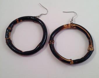 Dark Brown Bamboo Hoop earrings by Voodoo Betty Tiki Rockabilly