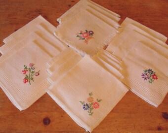 4 Sets of 4 Vintage Hand Embroidered Bridge Tea Cotton Linen Napkins
