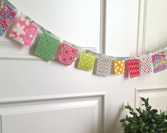shabby fabric scrap prayer flags, bunting, party flags, pennant, Spring festival flags, photo prop, gypsy bohemian flags, - No. 7