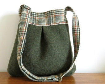 Wool and Plaid BELLA Purse, Upcycled Handbag in Green
