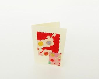 Greetings cards, set of three, vintage Japanese kimono fabrics