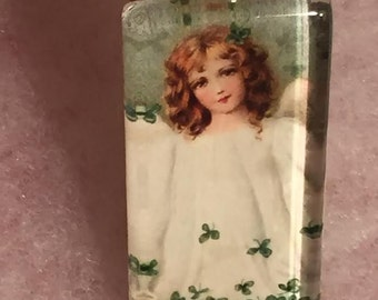 St Patrick's Day vintage girl graphics glass  green pendant