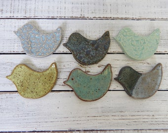 Assorted Ceramic Birds - Wedding favors - Shower Favors - Coffee Spoon Rests - Ring Holder- Trinket dish- Tea Bags- you choose quantity