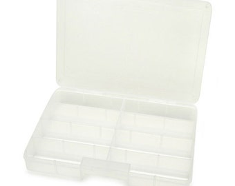 Deluxe Bead Organizer - Clear with 8 Compartments - 10 x 7 inches