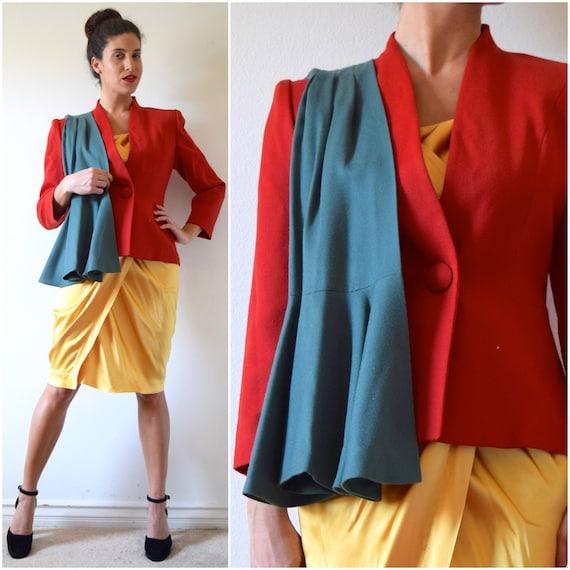 Vintage 80s 90s Maxi Librati Paris Red Wool Tailored Blazer (size medium)