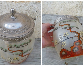 Vintage Antique 1890/ 1900 French Art nouveaux Legras cristallerie de Pantin  enameled glass biscuit jar /Japonisme