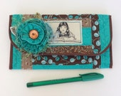 """Shabby and Scrappy Turquoise & Brown Quilted Wallet """"FREE Domestic SHIPPING"""""""