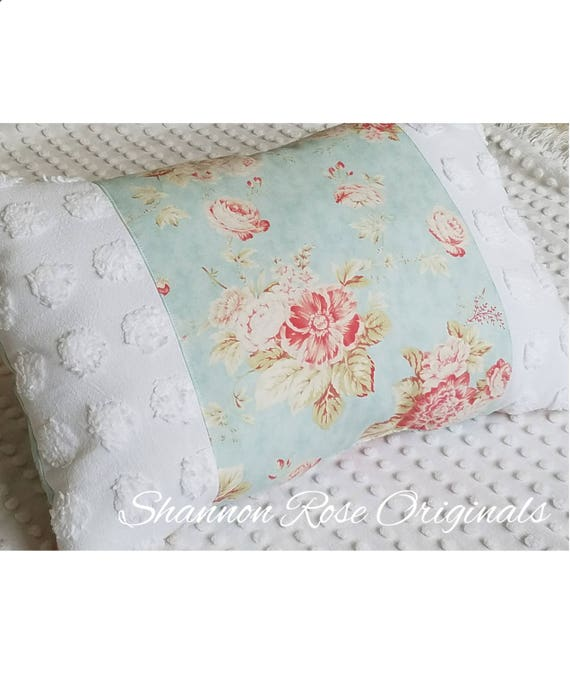 Shabby Chic Chenille Pillows : White vintage chenille seaside rose shabby chic throw pillow