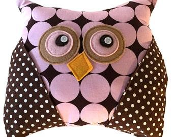 Decorative Owl Pillow, Polka Dot, Disco Dot Owl, Brown Pink, Hoot Hoot