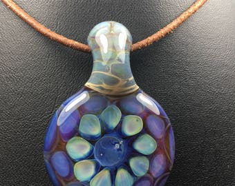 Hand blown borosilicate glass pendant on necklace (leather w/ sterling silver or faux satin) boro bead