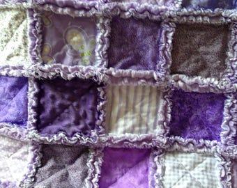 All in purple/ baby girl rag quilt blanket / stroller / car seat blanket