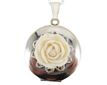 Peony Locket Necklace - Peony Jewelry Collection