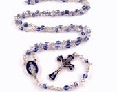 Miraculous Medal Rosary Beads Sapphire Blue Czech Glass w Blue Enamel Italian Medals by Unbreakable Rosaries