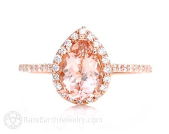 Morganite Engagement Ring Morganite Ring Rose Gold Pear Diamond Halo 14K or 18K Gold Unique Engagement