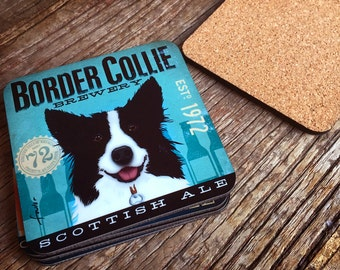 Set of 4 Border Collie brewing company dog beer coasters with cork backing