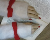 White Angora Mitts Fuzzy fingerless gloves Handmade Mitts White Mitts Red Cashmere Red bow fuzzy Mitts White fingerless gloves Angora mitts