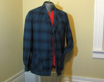 Blue Pendleton 49er jacket Pendleton Vintage 60s Shirt Blue Plaid Jacket Turquoise plaid green wool M L