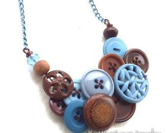 Serenity Brown and Blue Button and Bead Necklace
