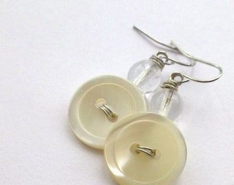 Spring Sale Pearl White Vintage Button Earrings with clear beads