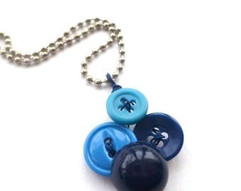 Spring Sale Small Pendant Necklace with Blue Buttons