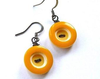 Summer Sale Retro Mustard Yellow Circles Vintage Button Dangle Earrings
