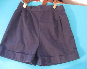Toddler's Pleated Shorts with Suspenders, Vintage Navy Blue Shorts, Boys Shorts size 12 months