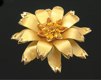 Golden Metal Flower Brooch, Topaz Rhinestones in Center, Large 3 Inch Width, Layered Petals, Vintage 70s Statement Fashion Costume Jewelry