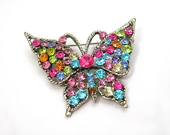 Pastel Rhinestones Butterfly Brooch, Silvertone Setting, Sparkling Multi-color Stones, Vintage 1970s Jewelry, Springtime Gift for Her, Minty