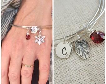 Personalized jewelry Silver initial bracelet set Custom birthstone bracelet 3 stacked bangle bracelets Snowflake or Leaf charm bracelet