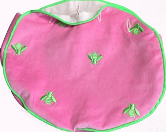 BERMUDA BAG COVER for 4 button Ladies bag in stock and Ready to Ship Handmade Embroidered Green Bees on Pink