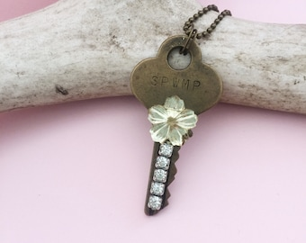 Key Necklace, Repurposed Vintage Key Jewelry, Boho Chic Pendnant, Key Collector gift, Farm Girl Chic