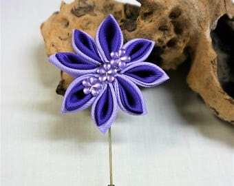 Lapel  Pin Kanzashi Flower  Two tone Purple - Handmade in France
