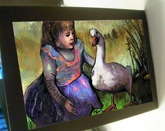 greeting card goose and girl