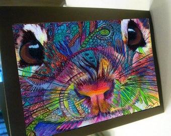 greeting card zentangle chipmunk face colorful blank card